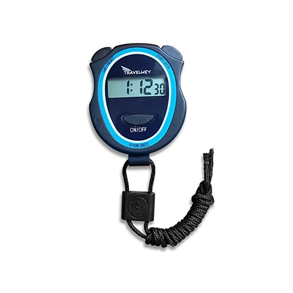 Travelwey Digital Stopwatch – No Bells, No Whistles, Simple Basic Operation, Silent, Clear Display, ON/Off, Child Friendly, AAA Batteries (Included), Black