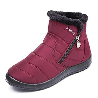 gracosy Warm Snow Boots, Women's Winter Ankle Bootie Anti-Slip Fur Lined Ankle Short Boots Waterproof Slip On Outdoor Shoes 7 M US Red