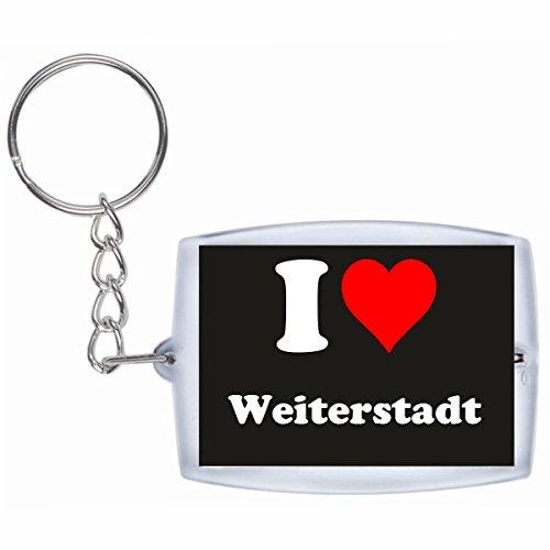 Druckerlebnis24 Schlüsselanhänger I Love Weiterstadt in Schwarz - Exclusiver Geschenktipp zu Weihnachten Jahrestag Geburtstag Lieblingsmensch