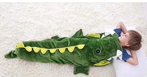 CWBB Kinder Meerjungfrau Dinosaurier Muster Mehrzweckdecke,Anti-Kick Kinder Krokodil Schlafsack,Flanell Fleece Alle Jahreszeiten Schlafsac, Meerjungfrau Decke,Crocodile