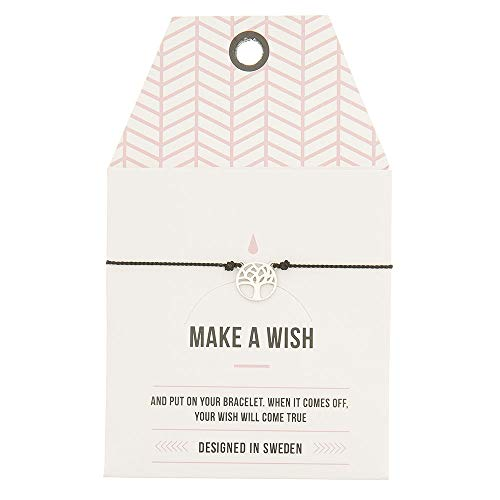 Mint TIMI of Sweden Wunschkarte Joshua Tree Baum Armband Silk Silber schwarz Black Freundschaftsarmband Make a Wish