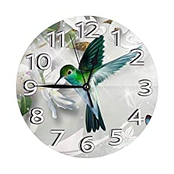 53f9a60536813 Retro Flowers Hummingbird Butterflies Wall Clock, Silent Non-Ticking Quality Quartz Battery Operated Wall Clock - 10 Inch Round Easy to Read Decorative for Home Office School