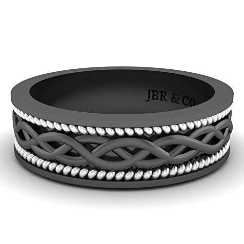 Jbr - Banda apilable de plata de ley de dos tonos para él y ella