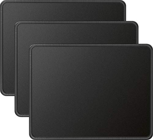 MROCO Mouse Pad 3 Pack [30% Larger] with Non-Slip Rubber Base, Premium-Textured & Waterproof Mousepads Bulk with Stitched Edges, Mouse Pads for Computers, Laptop, Office & Home, 8.5 x 11 inches, Black