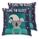 ALLMILL Juego de 2 Funda de Cojín, Diseño escandinavo Koala Bear durmiendo en la Cama Hora de Dormir Buenas Noches Texto Funda de Almohada Cuadrado para Sofá Cama Decoración para Hogar,45x45cm