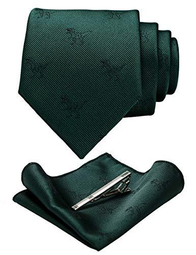JEMYGINS Homme Vert foncé Tissage de Motifs Cravate en Soie et Pinces à cravate et Carre de poche Ensemble Compris boîte(6)