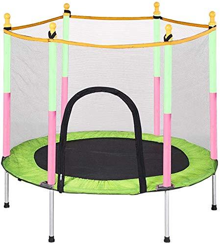 Mopoq Trampolin mit Schutznetz Startseite Kinder Indoor Familie Erwachsene Fitness Bouncing Bett Spielzeug Baby Kind Springen Bett mit Schutznetz Sicherheitsstoßdämpfung Anti-Skid (Color : Grün)