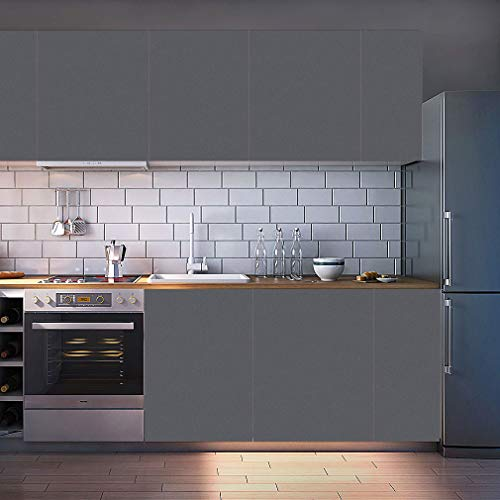 KINLO Möbelfolie Selbstklebende Folie Klebefolie DIY Dekofolie PVC Küchenfolie matt Verdickte Küchenschrank Aufkleber für Möbel Schrank Tische Wand, 61 x 500 cm Dunkelgrau