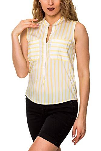 VERO MODA Damen Hemdbluse Gestreifte Bluse Blusentop (38 (Herstellergröße: M), Snow White/Yarrow)