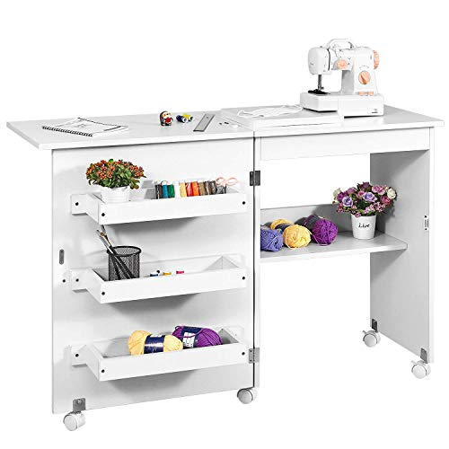 Kealive Foldable Sewing Table, Sewing Craft Cart with Adjustable Storage Shelves and Lockable Casters, Easy Assemble Multi-Function Wood Sewing Desk for Small Space, White