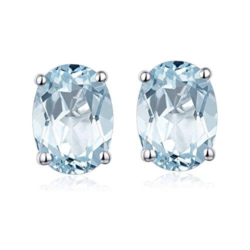 Hutang Jewelry Pendientes de tuerca ovalados de aguamarina natural de 0,78 quilates, 6 x 4 mm, plata de ley 925 maciza con piedras preciosas preciosas finas regalo para mujer
