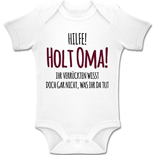 Shirtracer Sprüche Baby - Hilfe Holt Oma - 3/6 Monate - Weiß - BZ10 - Baby Body Kurzarm für Jungen und Mädchen