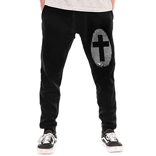 Mens Jogger Sweatpants Cross Thumbprint Elastic Waist Pajama Pants Black