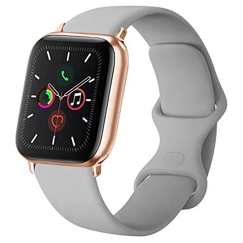ATUP Cinturino Compatibile per Apple Watch Cinturini 38mm 42mm 40mm 44mm, Cinturino di Ricambio in Silicone Morbido per iWatch Series 4, Series 3, Series 2, Series 1 (05 Grey, 42mm/44mm-S/M)