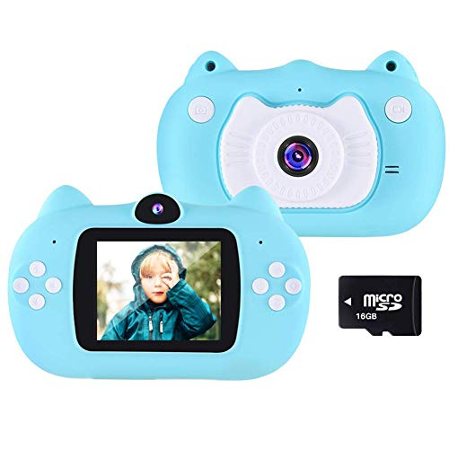 TDOYO Kids Camera Children Digital Cameras 2 Inch HD Toddler Video Recorder Shockproof Selfie Kid Action Camera Birthday Toy Best Gift for 3-10 Years Old Boys Girls Kids (16GB SD Card Included),Blue