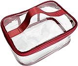 TUOF Clear Tote Bag Transparente Maquillaje Cosmético Neceser Organizador Ligero Impermeable Gran Almacenamiento, Rojo
