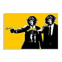 """ウォールアートバナナモンキーキャンバス絵画抽象的なチンパンジー動物の壁のポスターとプリント黄色の落書きアート壁の写真家の装飾50x70cm / 19.7""""x27.6""""フレームレス"""