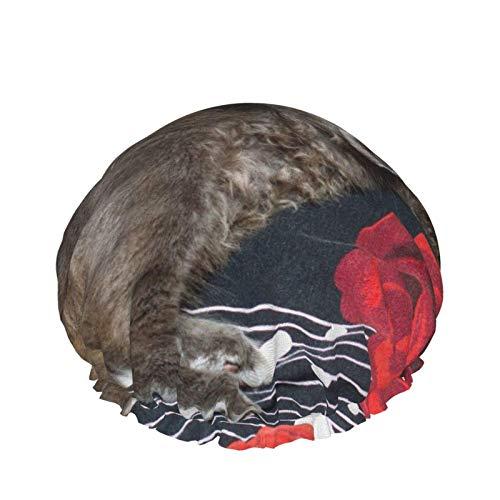 Gorro de ducha para mujer Gato gris en una cama brillante Reutilizable Cabello largo Cabello grueso