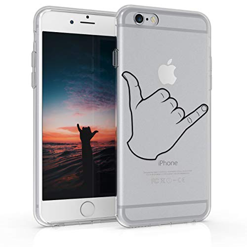 kwmobile Cover Compatibile con Apple iPhone 6 / 6S - Custodia in Silicone TPU - Back Case Cover Protettiva Cellulare Shaka Brah Nero/Trasparente