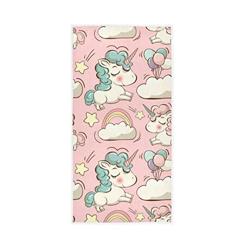 RURUTONG 1 toalla de mano de unicornio suave de secado rápido para cocina, natación, spa, gimnasio, decoración de 30 x 15 pulgadas, globo de nubes rosa 2010050