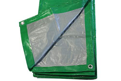 Lona de protección PP/PE para barco, lona de madera, color verde/plata con ojales, 2 x 3 m, 120 g/m²