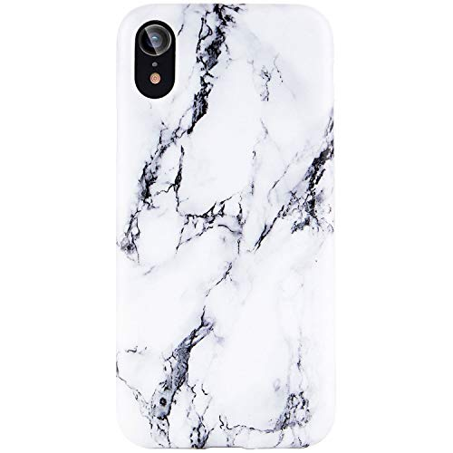 Reejax iPhone XR Case with Glass Screen Protector, Cute White Black Marble for Girls Women Best Protective Slim Fit Clear Bumper Glossy TPU Soft Silicon Cover Phone Case for iPhone XR 6.1 inch