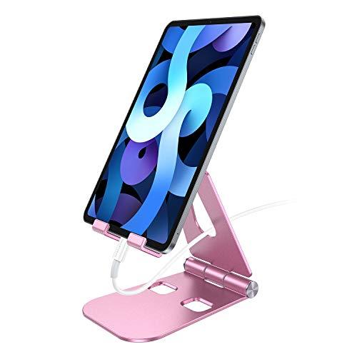 SmartDevil Supporto Tablet, Alluminio Porta Tablet Telefono Tavolo Regolabile Stand Dock per Dispositivo da 4 a 12'' per Pad PRO Pad Air Pad Mini Samsung S10 S9 Tab Nintendo Switch iPhone ECC-Oro Rosa