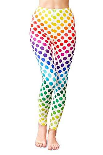 KYKU Rainbow Leggings Women High Waist Gradient Neon Dot 3D Soft Yoga Pants (Medium)