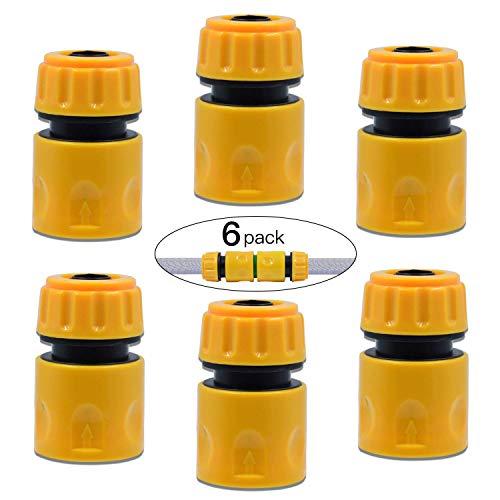 FEIGO 6 Stück Schlauchverbinder 1/2 zoll, Verbindungsstück Kit, Gartenschlauch Rohr Verbinden mit Klemmmutter Schnellkupplung für Wasserhähne
