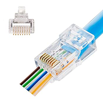 Quilence CAT5E CAT5 Connectors Rj45 Pass Through Ends Gold Plated Network Plugs CAT5E Cable Ends for Ethernet Cable 100pcs