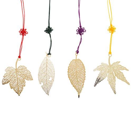 Nuolux 4 segnalibri vintage a forma di foglie e foglie d'acero, in metallo dorato, con nastro con annodatura in stile cinese (etichetta in lingua italiana non garantita)