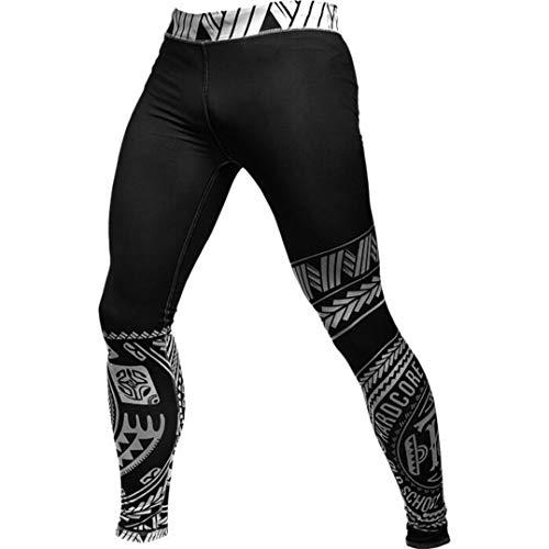Hardcore Training Ta Moko Black Compression Pants Men's Pantalones de Compresión Hombre MMA BJJ Artes Marciales Boxeo Fitness No Gi Capa Base