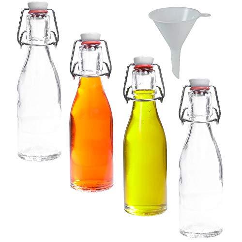 mikken - 4 x kleine Glasflasche 200 ml mit Bügelverschluss aus Porzellan zum Befüllen, als kleine Likörflasche & Saftflasche verwendbar (inkl. Trichter Ø 7 cm)