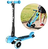 Banne Scooter Height Adjustable Lean to Steer Flashing PU Wheels 3 Wheel Kick Scooters for Kids Boys Girls (Blue)