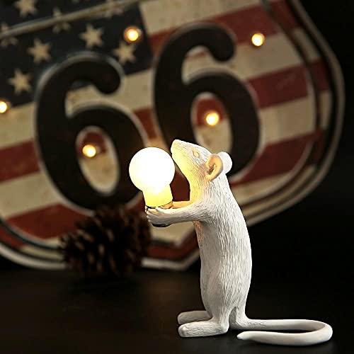 Lámpara de mesa LED de resina Seletti estilo nórdico con bombilla de ratón E12 Adaptador EU/AU/US/UK Habitación de niños Vida nocturna DesktopDecor blanco A