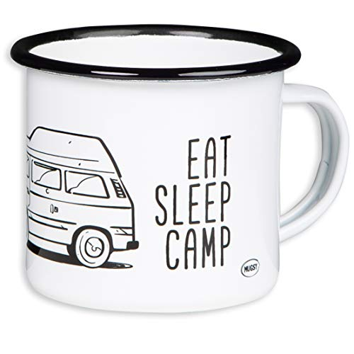 EAT SLEEP CAMP - EXPLORE DRIVE REPEAT - Hochwertiger Emaille Becher mit Campervan mit Hochdach Motiv - leicht und bruchsicher, für Camping, Vanlife - von MUGSY.de
