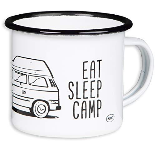 """MUGSY.de - Tazza Smaltata di Alta qualità, con Scritta """"Eat Sleep Camp, Explore Drive Repeat"""" e Design Camper Bulli T3, con tettuccio Alto, Tazza Leggera e Resistente, per Campeggio, Viaggi in Camper"""