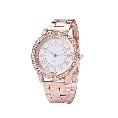 LjzlSxMF Reloj de señoras de Las Mujeres del Reloj de la dureza del Vidrio cristalino con la decoración de la Herramienta de muñeca de Acero Inoxidable