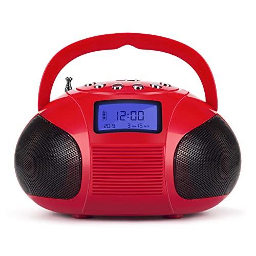 August SE20 - Mini Bluetooth Radio Wecker mit FM USB SD und AUX Eingang Mini - UKW Radio mit wiederaufladbare Batterie und 12 Senderspeichern - 6 W Stereo-Lautsprecher – rot