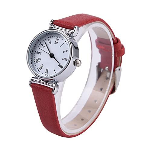 Huairdum Mini Reloj pequeño, Reloj de Vestir para Mujer Exquisito para Amigas para colegas(Red Belt and White Plate)