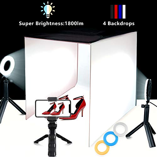 Photo Light Box Travor Portable 16''x16'' Photography Studio Box Shooting Tent Kit with 4 Color Backdrops, 6 Filters and Phone Holder for Photography Product