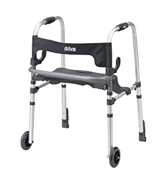 Drive Medical Clever-Lite LS Rollator Walker with Seat and Push Down Brakes Gray