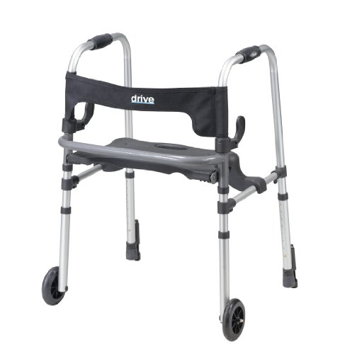 Drive Medical Clever-Lite LS Rollator Walker with Seat and Push Down Brakes, Gray