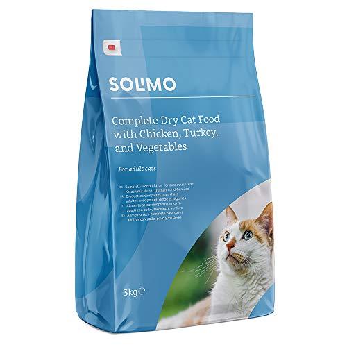Marca Amazon - Solimo - Alimento seco completo para gatos adultos con pollo, pavo y verduras, 1 Pack de 3 kg