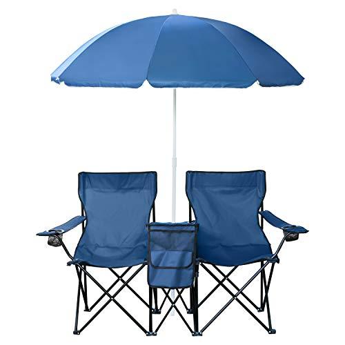 1PLUS 2er Partner Campingstuhl, klappbar, mit Sonnenschirm und Kühlfach - Doppelsitzer Anglerstuhl für 2 Personen (blau)