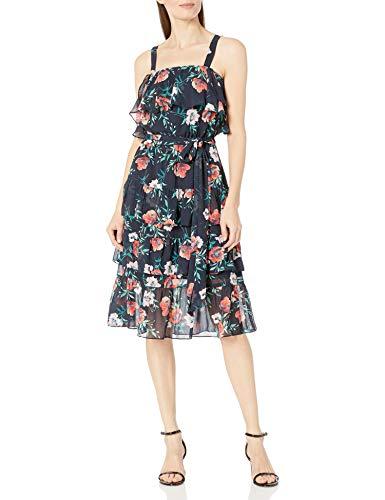 Eliza J Women's Flutter Sleeve Ruffle Dress, Navy, 4