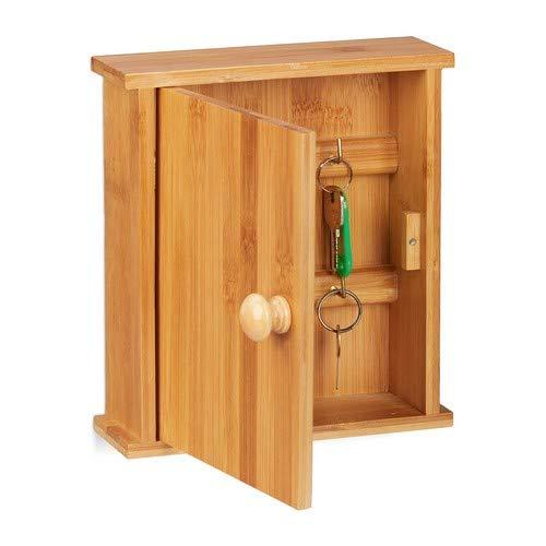 Relaxdays Schlüsselkasten Bambus-Holz, 6 Haken, Magnetverschluss, Schlüsselschrank für die Wand, HBT 20,5x18x6cm, Natur