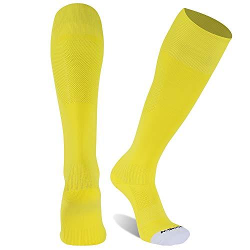 Football Training Socks, Sunew Half Cushioned Baseball Team Sport Sport Breathable Soccer Socks for Men &Women, Non-slip Solid Ankle Support Softball Hockey Rugby Socks Bright Yellow X-Large 1 Pair