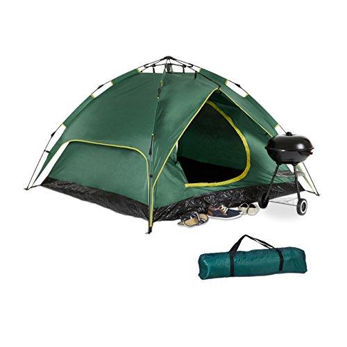 Relaxdays Campingzelt, für 3-4 Personen, Quick-Up, 2in1-Funktion, H x B x T: 200 x 200 x 115cm, Dunkelgrün