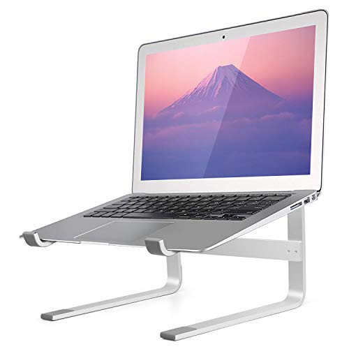Minishark Laptop Stand Ergonomic Aluminum Laptop Mount Computer Stand for Desk, Detachable Laptop Riser Laptop Holder Compatible with All MacBook Air Pro Between 10-17' Notebook and Tablet-Silver